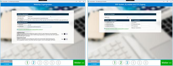 setupassistent- für die Webschopschnittstelle zu Selectline