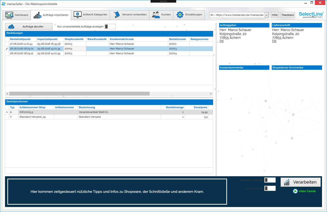 Aufträge aus dem Shopware oder amazon, ebay uvm. in SelectLine importieren